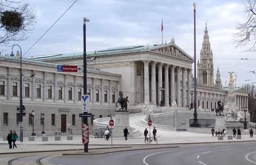 Vienna's Ringstrasse - the Austrian Parliament Building and the Rathaus