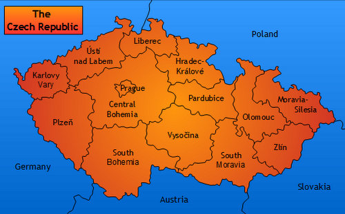 Map of the administrative divisions of the Czech Republic (Copyright © 2015 Hendrik Böttger / Run International EU)