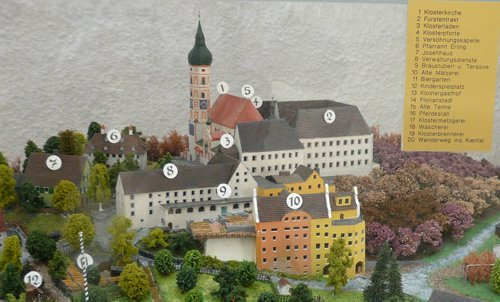 Model of Andechs Abbey (Kloster Andechs) -- Author: Ramessos / commons.wikimedia.org / Public Domain / Photo modified by runinternational.eu