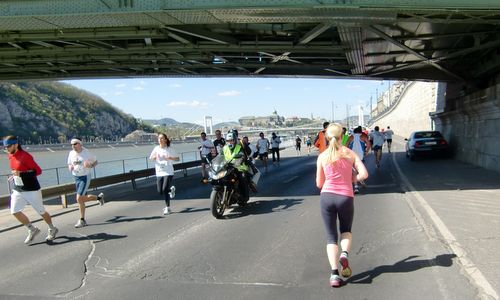 Half Marathon runners under Szabadság híd (Liberty Bridge), Budapest, Hungary - Photo: Copyright © Hendrik Böttger / runinternational.eu