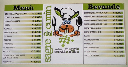 The Menu of the Sagre dal Cunin 2015 in Castions di Strada, Province of Udine, Italy (Copyright © 2015 Hendrik Böttger / runinternational.eu)